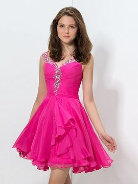 Delicate Straps Beaded Pleats Short Homecoming Dress