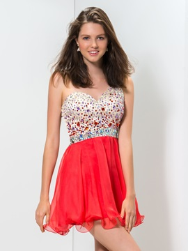 Amazing One Shoulder Crystal Sequined Hollow Mini Homecoming Dress