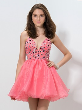 Modern Straps Cyrstal A Line Short Organza Homecoming Dress
