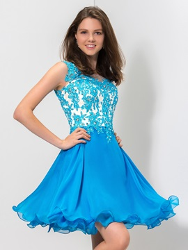Chic Scoop Neck Straps Appliques Sequined A Line Short Royal Blue Homecoming Dress