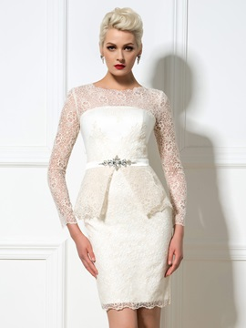 Amazing Round Neck Long Sleeves Sheath Short Lace Cocktail Dress