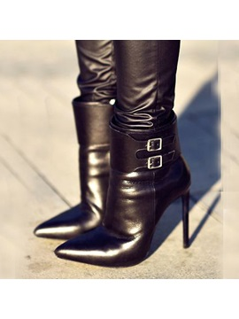 Solder Buckle Pointed Toe Heel Booties Shoes