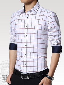 Casual Printed Windowpane Long Sleeve Men Shirt
