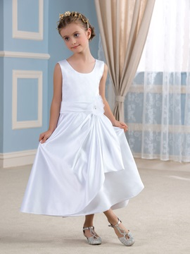 Classic White Satin Flower Girl Dress Cheap