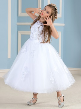Tea Length A Line Beaded Lace Princess White Flower Girl Dress