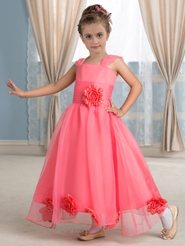 Admirable Square Neck Flowers Watermelon Red Organza Flower Girl Dress