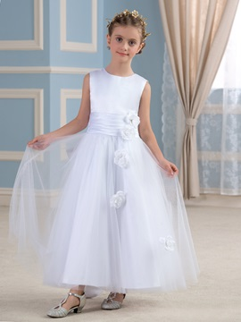 Ankle Length Bowknot Floral White Flower Girl Dress