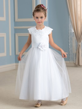 Fancy Lace Jewel Neck Flower White Flower Girl Dress