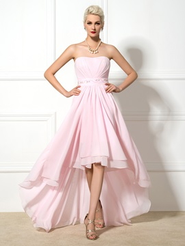 Chic Sweetheart A Line Beaded Asymmrtrical Prom Dress