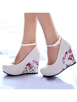 Floral Printed Ankle Strap Wedges