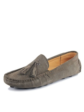Thread Suede Slip On Loafers