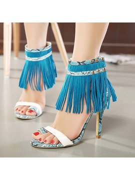 Tassels Ring Toe High Heel Sandals