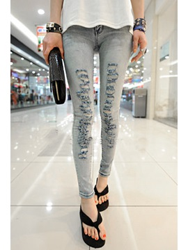 Skinny Cotton Denim Frayed Destroy Pencil Jean