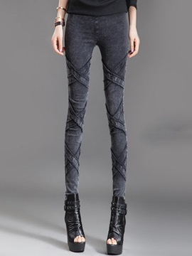 Skinny Solid Color Cross Designed Pencil Jean