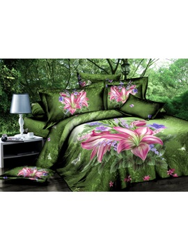 Hot Sell Pink Lily In Wild Jungle 4 Pieces Bedding Sets