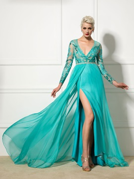 Amazing Deep V Neck Long Sleeves Split Front Appliques Evening Dress
