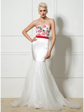 Fancy Sweetheart Floral Print Long Mermaid Evening Dress