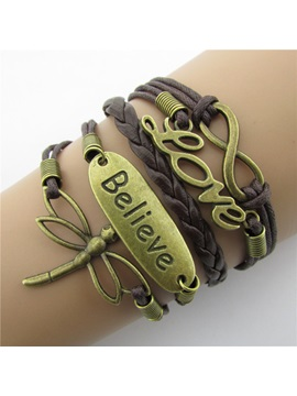 Vintage Dragonfly Infinity Leather Bracelet