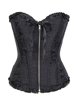 Fashion Solid Zip Women Short Corset