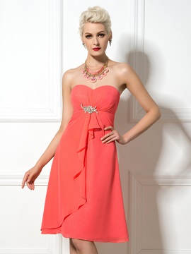 Knee Length A Line Sweetheart Watermelon Chiffon Bridesmaid Dress