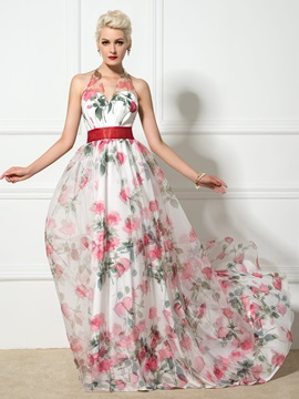 Dramatic Backless Halter V Neck A Line Long Floral Print Evening Dress