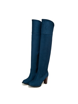 Suede Chunky Heel Knee High Boots
