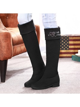 Rhinestone Round Toe Knee High Boots