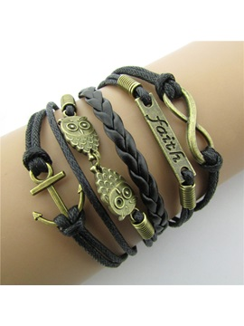 Vintage Letters Infinity Decorated Leather Bracelet