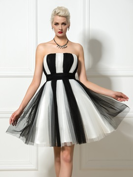 Casual Strapless Color Block Ruffles A Line Short Cocktail Dress