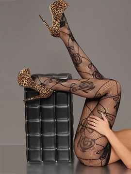 Lovely Nylon Hollow Women Silk Stockings With Flower Pattern