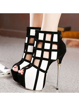 Color Block Cut Out Metal Heel Platform Pumps