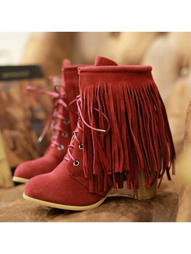 Suede Tassel Lace Up Chunky Heel Booties