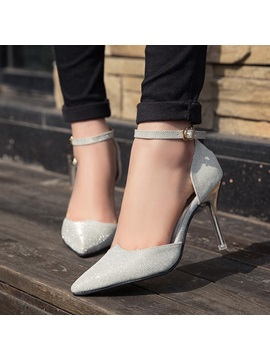 Pu Pointed Toe Ankle Strap Classic Pumps