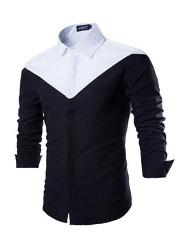 Contrasting Button Closure Mens Casual Shirt