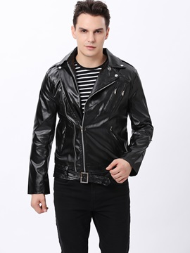 Slim Fit Turn Down Collar Zip Mens Jacket