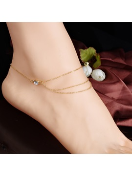 Beautiful Multi Layer Rhinestone Decorated Alloy Anklet