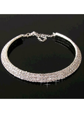 Dazzling Rhinestone Decorated Womens Necklace