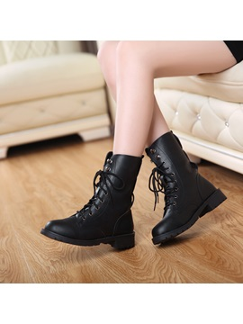 Black Round Toe Womens Motorcycle Boots