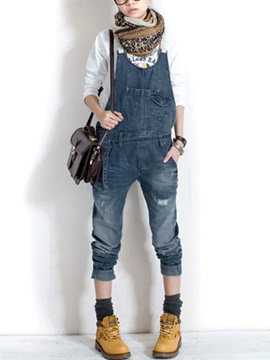 Casual Patchwork Detachable Denim Overalls