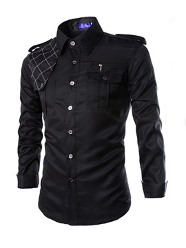 Square Neck Long Sleeve Men Shirt