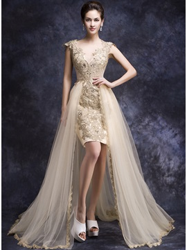 Fashionable V Neck Appliques Beaded Court Train Asymmetrical Evening Dress