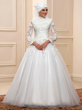 Muslim High Neck Long Sleeves Ball Gown Applique Arabic Wedding Dress