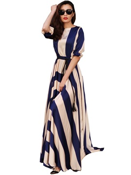 Wide Stripes Long Sleeve Maxi Dress