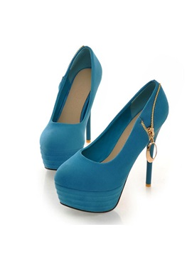 Zippered Suede Womens Platform Pumps