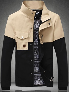 Stitching Color Block Snaps Button Jacket