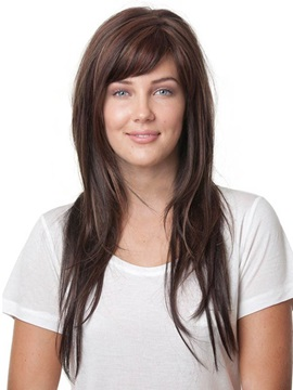 Youthful Long Natural Straight 20 Inches Capless Synthetic Wig