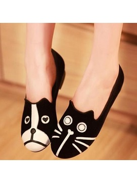 Cartoon Round Toe Slip On Flats