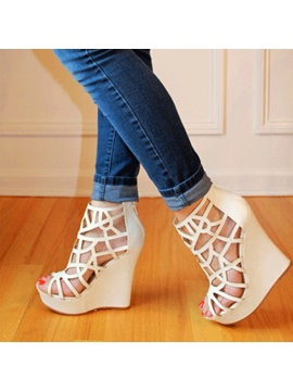 Cut Out Covering Heel Womens Wedges