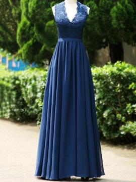 Floor Length V Neck Lace Open Back Long Bridesmaid Dress