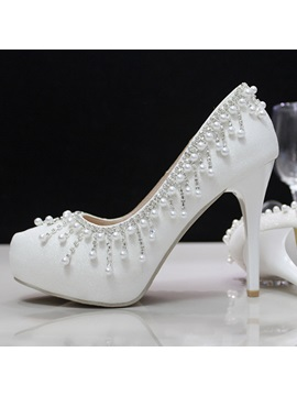 Beading Tassel Round Toe Prom Shoes